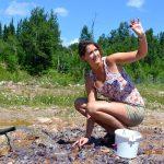 Woman digging amethyst