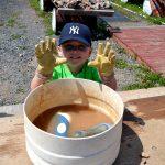 Boy washing amethyst